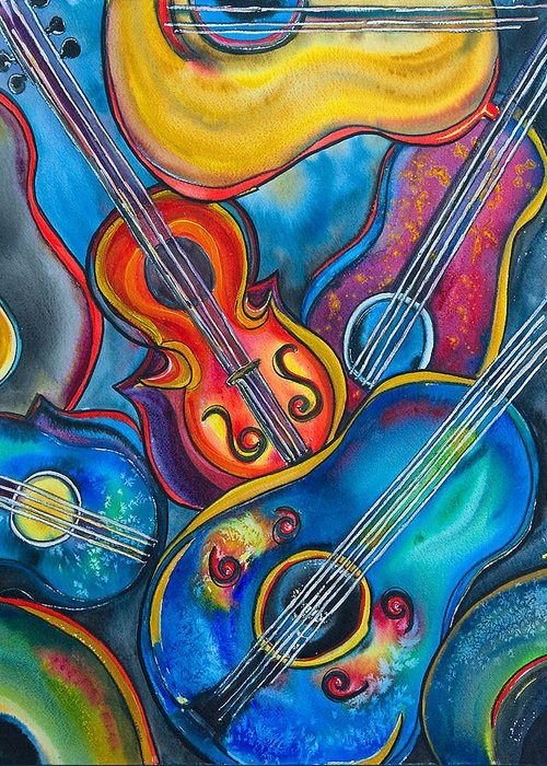 Guitars Greeting Card featuring the painting Crazy Strings by Cheryl Ehlers