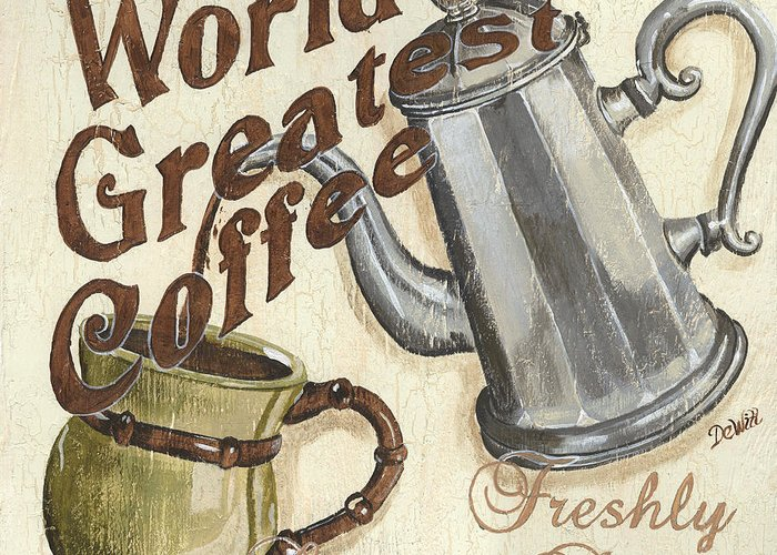 Coffee Greeting Card featuring the painting Cream Coffee 1 by Debbie DeWitt