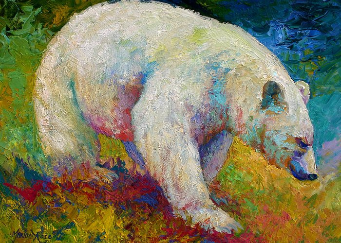 Western Greeting Card featuring the painting Creamy Vanilla - Kermode Spirit Bear Of BC by Marion Rose