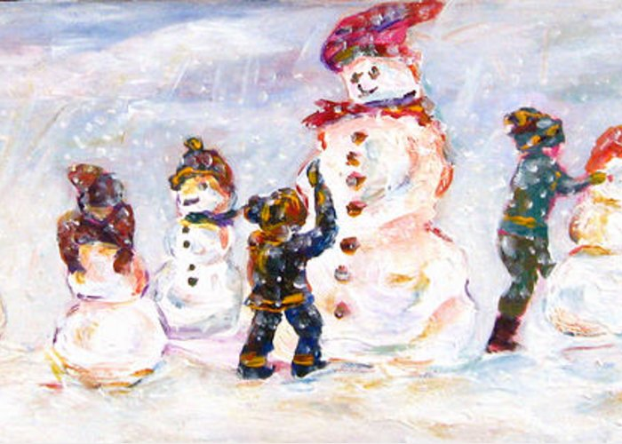 Figurative Greeting Card featuring the painting Creating Friends by Naomi Gerrard