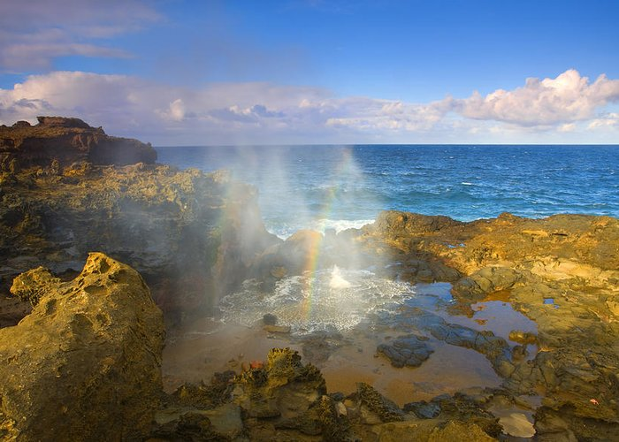 Blowhole Greeting Card featuring the photograph Creating Miracles by Mike Dawson