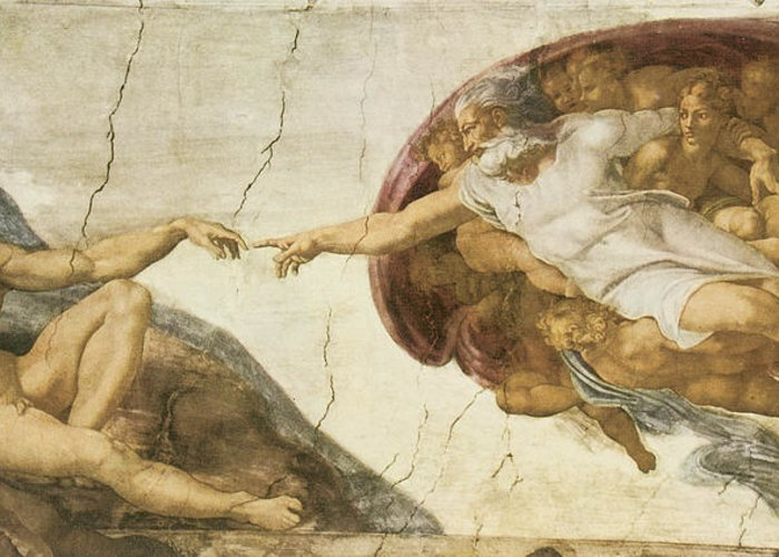 Michelangelo Buonarroti Greeting Card featuring the painting Creation Of Adam by Michelangelo Buonarroti