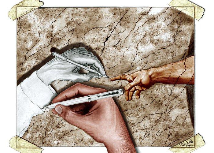 Creators Hand At Work Greeting Card featuring the digital art Creators Hand at Work - Colored by Peter Piatt