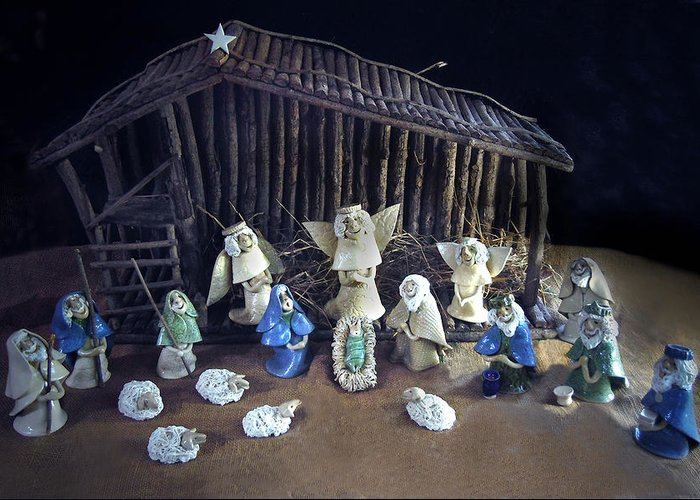 Nativity Greeting Card featuring the photograph Creche Top View by Nancy Griswold