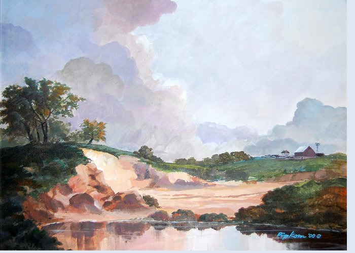 Werner Pipkorn Greeting Card featuring the painting Credit River Farm by Werner Pipkorn
