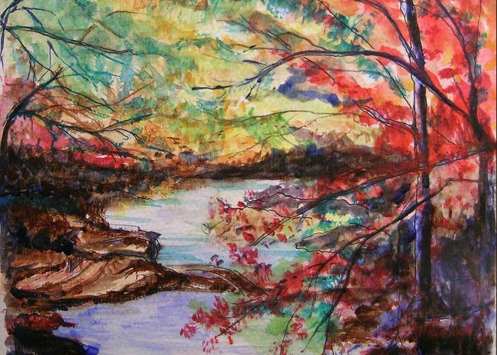 Creek Greeting Card featuring the painting Creek Blue Ridge Mountains by Lizzy Forrester