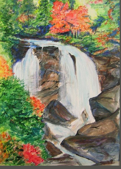 Creek Greeting Card featuring the painting Creek In Autumn by Lizzy Forrester