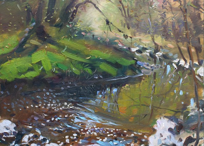 Lanscape Greeting Card featuring the painting Creek In The Woods by Ylli Haruni