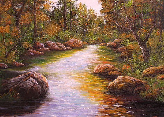 Connie Tom Greeting Card featuring the painting Creek Retreat Vii by Connie Tom