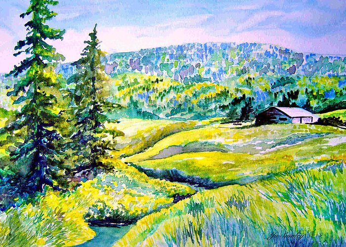 Arkansas Creek And Cottage Greeting Card featuring the painting Creek To The Cabin by Joanne Smoley