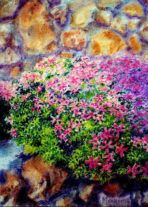 Floral Greeting Card featuring the painting Creeping Phlox by Bill Meeker