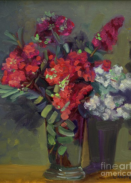 Floral Greeting Card featuring the painting Crepe Myrtles In Glass by Lilibeth Andre