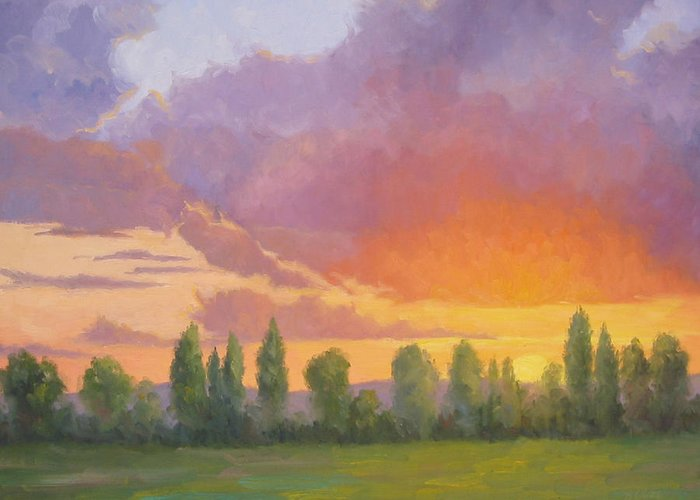 Sunset Greeting Card featuring the painting Crescendo by Bunny Oliver