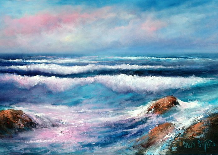 Ocean Greeting Card featuring the painting Cresting Waves by Sally Seago