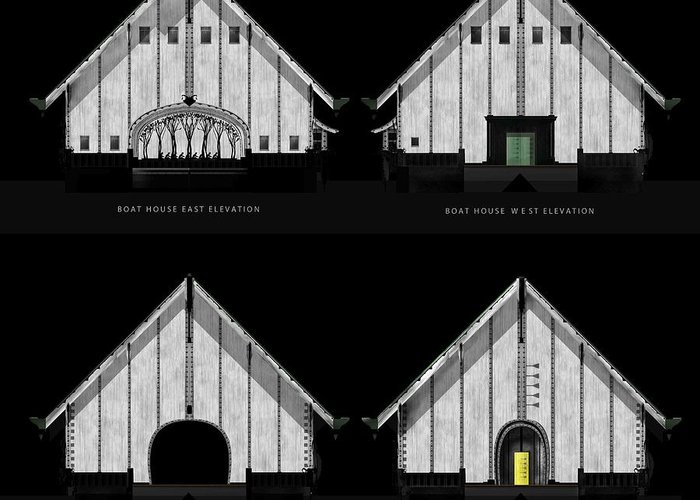 Aiden Humphrey Greeting Card featuring the digital art Crew Boathouse Elevations by Aiden Humphrey