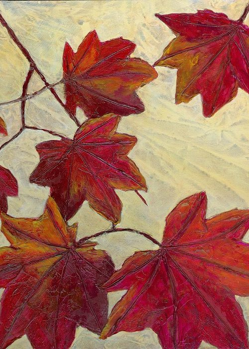 Autumn Greeting Card featuring the painting Crimson Branch by Wanda Pepin