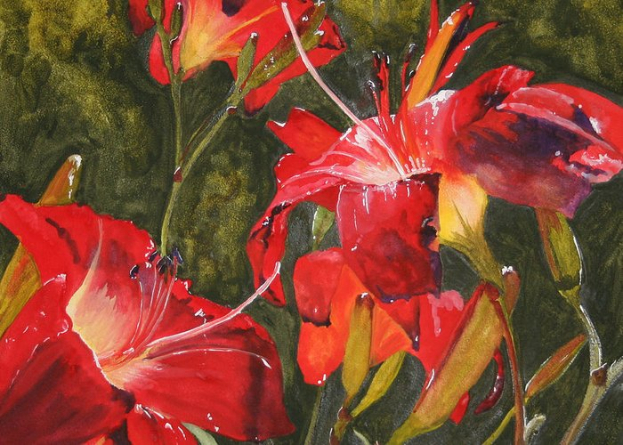 Red Greeting Card featuring the painting Crimson Light by Jean Blackmer