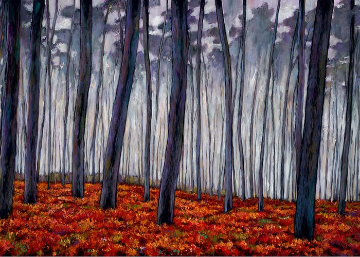 Landscape Greeting Card featuring the painting Crimson Walk by Johnathan Harris