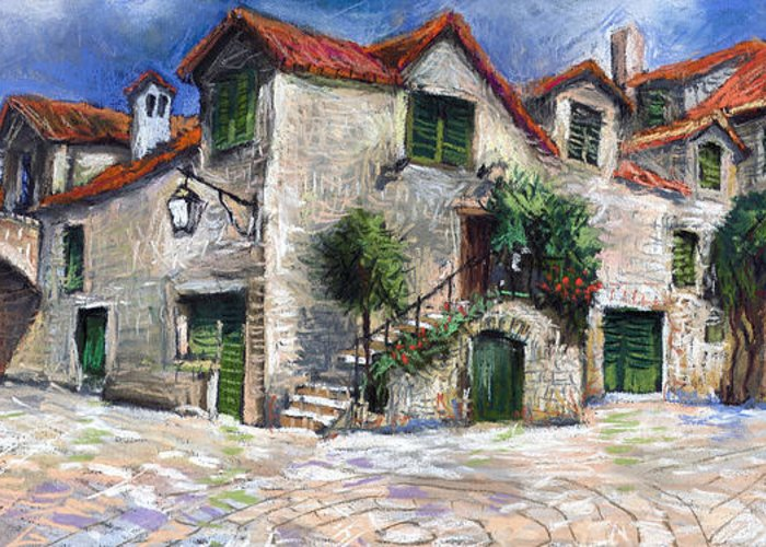 Pastel On Paper Greeting Card featuring the painting Croatia Dalmacia Square by Yuriy Shevchuk