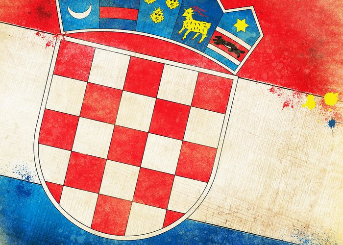 Chalk Greeting Card featuring the painting Croatia Flag by Setsiri Silapasuwanchai