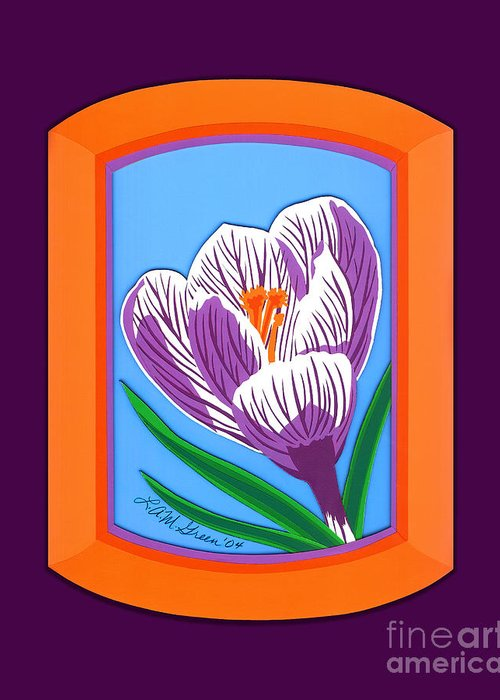 Nature Greeting Card featuring the drawing Crocus by Lucyna A M Green