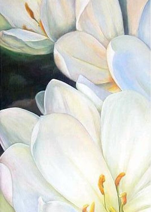 Floral Painting Greeting Card featuring the painting Crocus by Muriel Dolemieux
