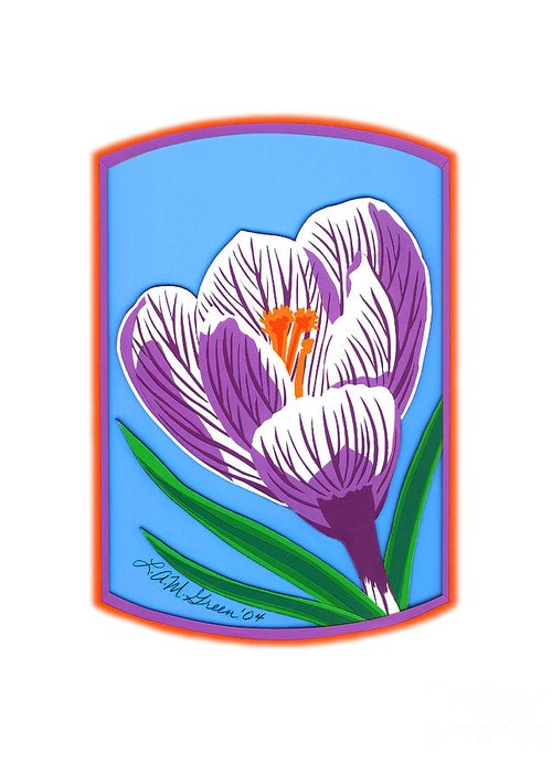 Nature Greeting Card featuring the drawing Crocus Too by Lucyna A M Green