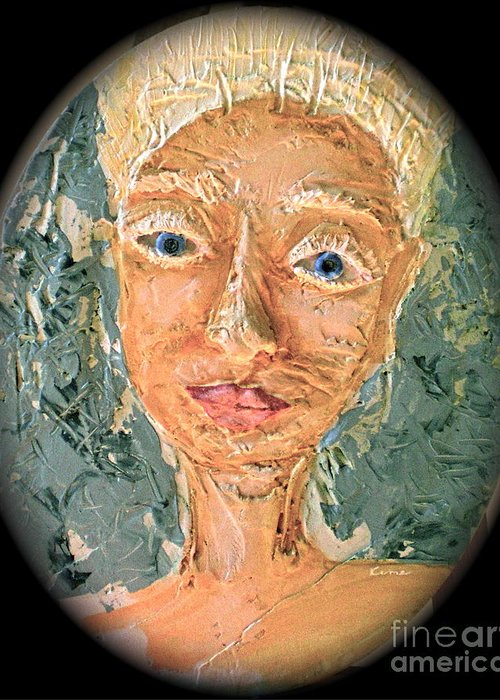 Portraits Greeting Card featuring the painting Crone Of Crowns by Kime Einhorn