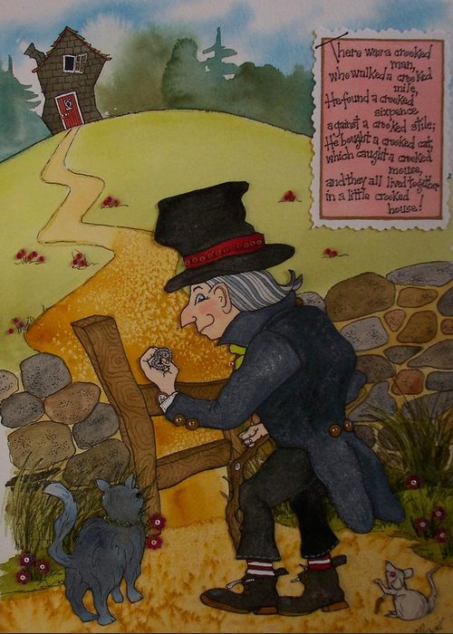 Crooked Man Greeting Card featuring the painting Crooked Man by Victoria Heryet