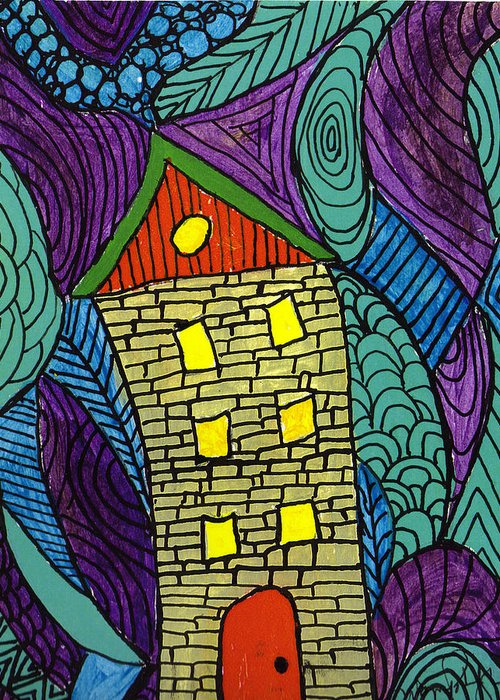House Greeting Card featuring the painting Crooked Yellow Brick House by Wayne Potrafka