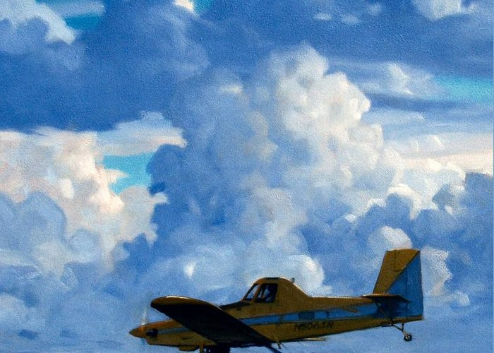 Airplanes Greeting Card featuring the painting Crop Duster by Kevin Lawrence Leveque