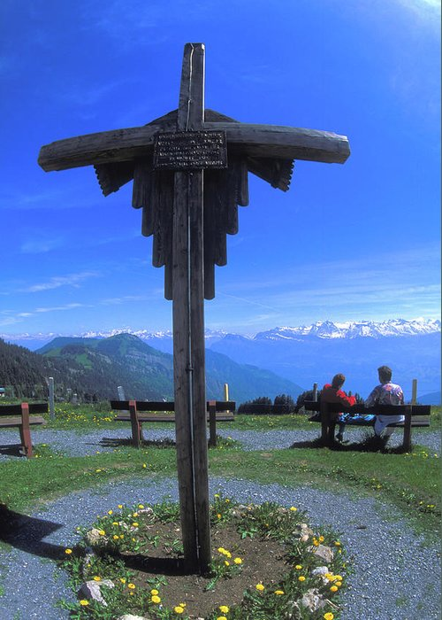 Cross Greeting Card featuring the photograph Cross At Rigi In Switzerland by Carl Purcell