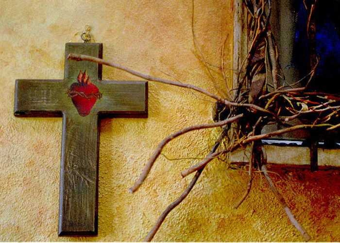 Cross Wall Window Greeting Card featuring the photograph Cross By Window by Lawrence Costales