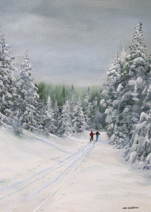 Ski. Skiing Greeting Card featuring the painting Cross Country Skiers by Ken Ahlering