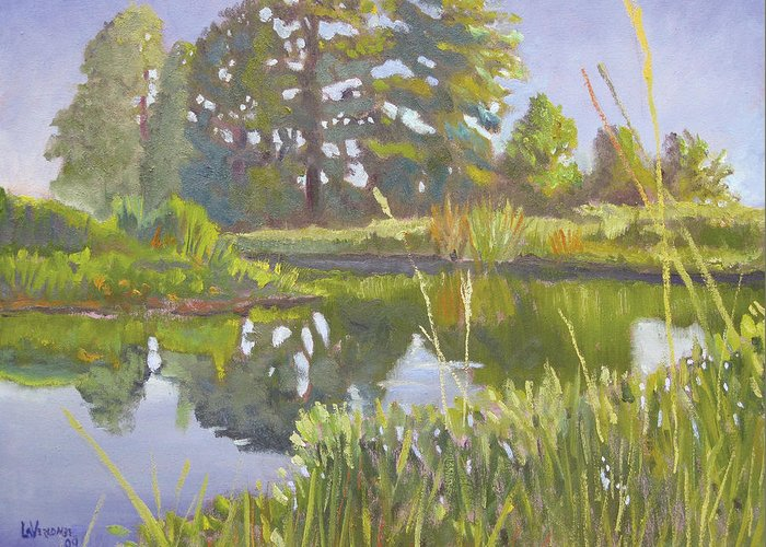River Greeting Card featuring the painting Cross Creek by D T LaVercombe
