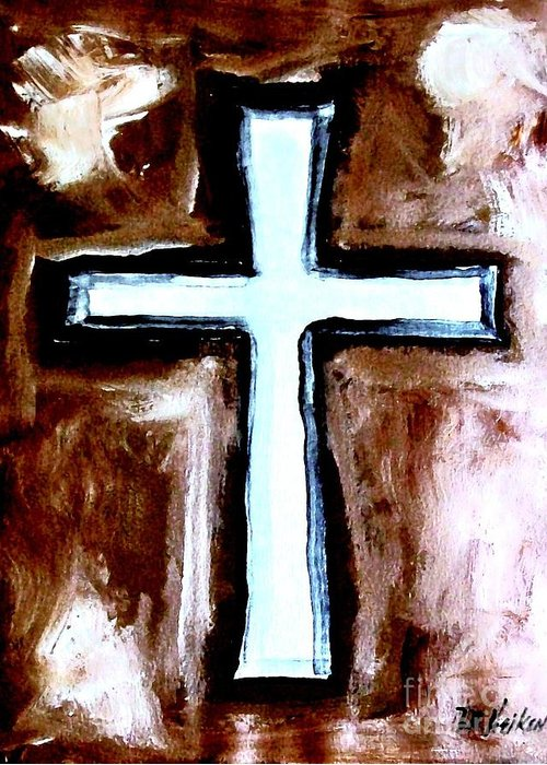 Painting Greeting Card featuring the painting Cross For Me by Marsha Heiken