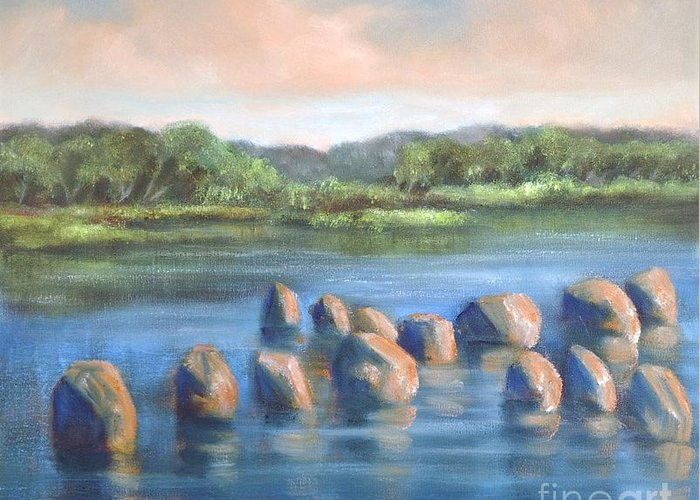Clear Reflection Greeting Card featuring the painting Cross Of Rocks by Randy Burns