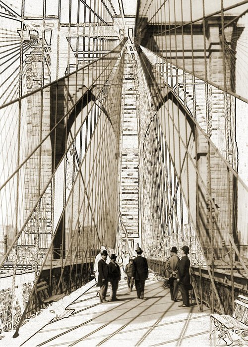 Brooklyn Bridge Greeting Card featuring the photograph Cross That Bridge Vintage Photo Art by Karla Beatty