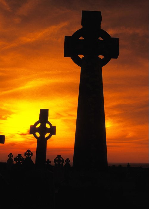 Christian Greeting Card featuring the photograph Crosses At Sunset by Carl Purcell