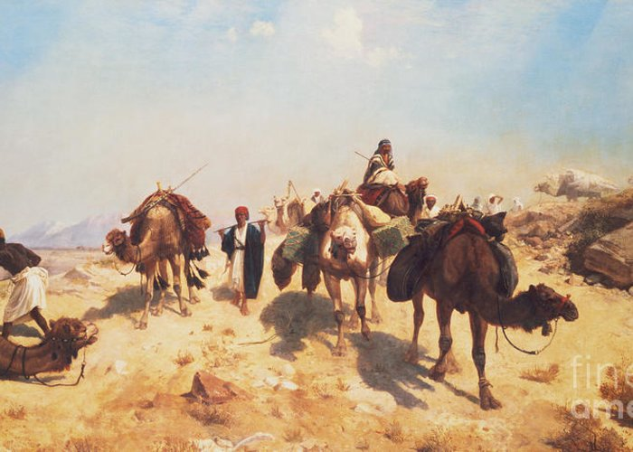 Crossing Greeting Card featuring the painting Crossing The Desert by Jean Leon Gerome