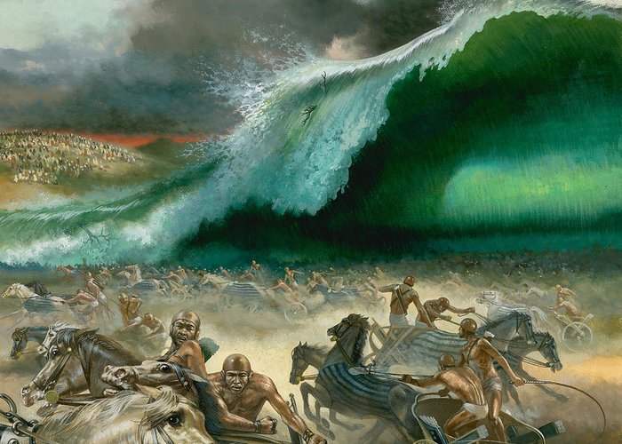 Crossing Greeting Card featuring the painting Crossing The Red Sea by Anonymous