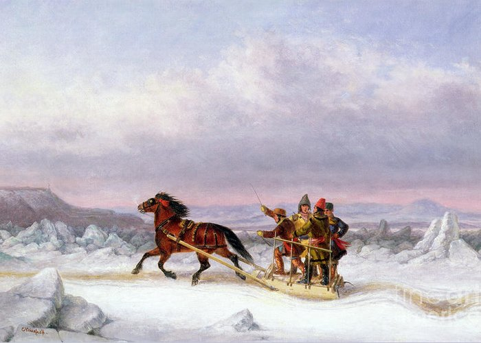 Crossing Greeting Card featuring the painting Crossing The Saint Lawrence From Levis To Quebec On A Sleigh by Cornelius Krieghoff