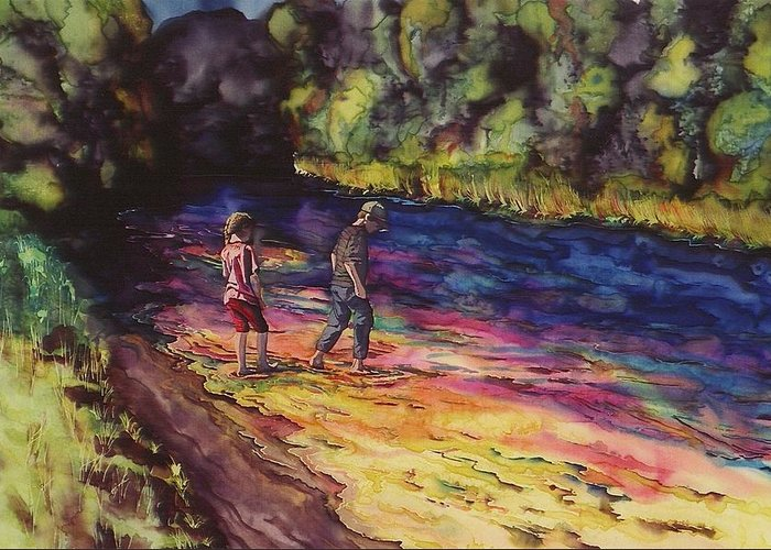 Stream Greeting Card featuring the tapestry - textile Crossing The Stream by Carolyn Doe