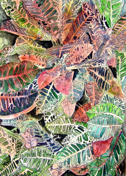 Croton Greeting Card featuring the painting Croton Tropical Art Print by Derek Mccrea