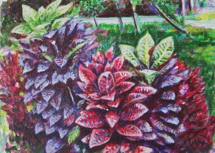 Landscape Greeting Card featuring the painting Crotons 1 by Usha Shantharam