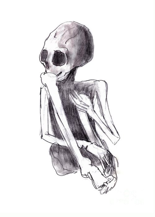 Crouched Skeleton Greeting Card featuring the drawing Crouched Skeleton by Michal Boubin