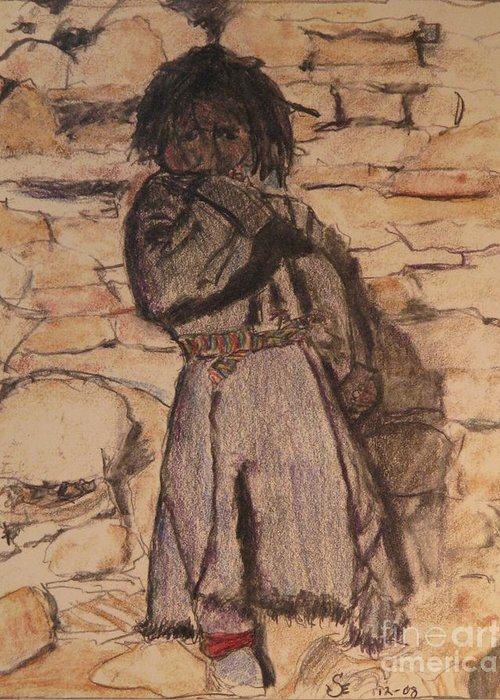 Drawing Of Boy Greeting Card featuring the mixed media Crouching Boy In Mustang Tibet by James Sheppard