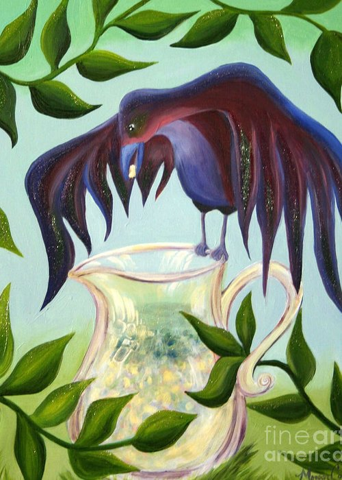 Crow Greeting Card featuring the painting Crow And Pitcher by Morgan Leshinsky