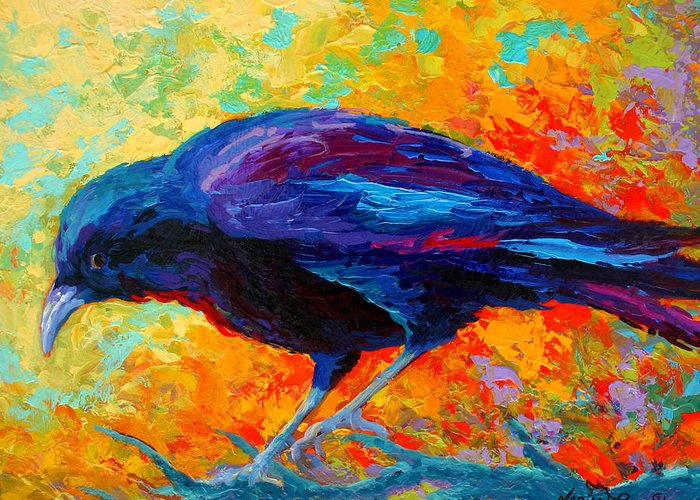 Crows Greeting Card featuring the painting Crow IIi by Marion Rose