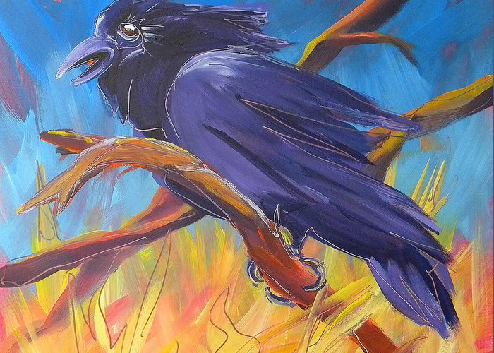 Crow Greeting Card featuring the painting Crow In The Grass 5 by Pam Van Londen